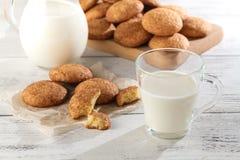 Seasonal cinnamon snickerdoodle cookies with milkin rustic setti Royalty Free Stock Photos