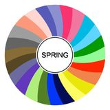Seasonal color analysis palette for spring type. Type of female appearance. Stock vector color guide. Seasonal color analysis palette for spring type. Type of vector illustration