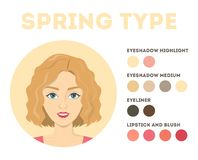 Seasonal color analysis. Spring stype. Brochure for women. Seasonal color analysis. Spring type. Palette for different type of beauty. Brochure for women. Cold royalty free illustration