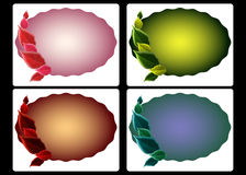Seasonal color tags. Variety of scalloped oval tags embellished with leaves in different seasonal colors Stock Photo