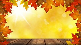 Seasonal Colorful Autumn Concept - Table For Product Presentation With Leaves And Bright Sunny Bokeh Background royalty free stock photo