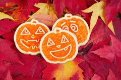 Seasonal Cookies with Leaves of Autumn Royalty Free Stock Photos