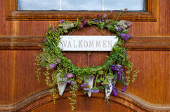 Seasonal decoration on Swedish door Stock Image