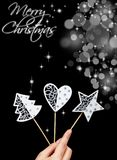 Seasonal decorations in woman hand - copy space Royalty Free Stock Photos