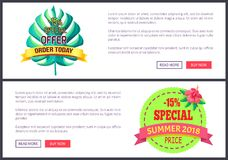 Seasonal Discount Sale Labels Tropical Vector Web. Seasonal discount promo labels in exotic style vector web posters add text. Sale summer 2018 special offer 10 royalty free illustration