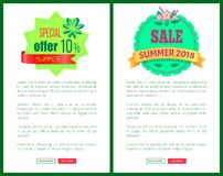 Seasonal Discount Sale Labels Tropical Vector Web. Seasonal discount sale labels in tropical style vector web poster add text. Summertime 2018 special offer 10 royalty free illustration