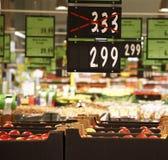 Seasonal discounts in hypermarket Royalty Free Stock Images