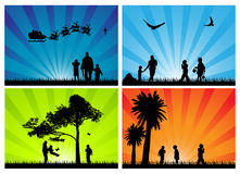 Seasonal family silhouettes Royalty Free Stock Image