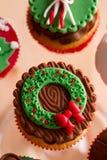 Seasonal festive Christmas mini dessert. With cane mistletoe decorative symbol Stock Photos