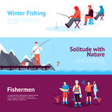 Seasonal Fishing Horizontal Banners Set. Solitude and nature outdoor activities 3 flat horizontal banners set with ice fishing abstract  vector illustration Royalty Free Stock Images