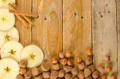 Seasonal food background with cinnamon stock photo