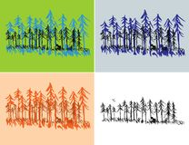 Seasonal Forest Scenes. A hand drawn pine forest scene with seasonal colors and plain black Stock Photos