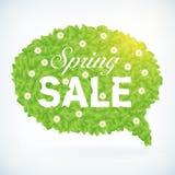 Seasonal fresh spring sale speech bubble business background. Seasonal fresh spring sale business advertisement text on leafs speech bubble background vector illustration