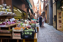 Seasonal fruit and vegetables on stalls at the open street market Royalty Free Stock Image