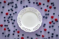 Seasonal fruits, blueberry and raspberry, Empty place for an inscription. Seasonal fresh fruits, blueberry and raspberry, Empty place for an inscription stock photography