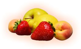 Seasonal fruits. Seasonal fresh fruit of different types and dimensions on a gradient background Royalty Free Stock Image