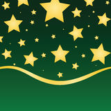 Seasonal Gold Stars. Gold stars against a green gradient background with ribbon border Stock Image