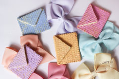 Seasonal greeting card mail bakery message ribbon pastel. Cute greeting card seasonal melody colorful sweet cute bakery food royalty free stock image