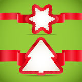 Seasonal greeting cards. With red ribbons Stock Photo