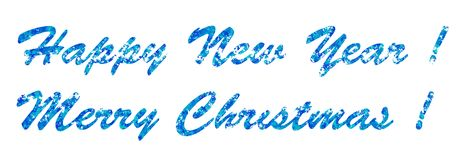 Seasonal greeting New Year and Merry Christmas, blue letters on a white background, the basis for postcards. And greeting cards to gifts Royalty Free Stock Photography