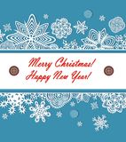 Seasonal greeting with paper snowflakes Royalty Free Stock Photo
