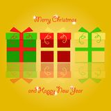 Colorful christmas gifts stacked next to each other with reflection, christmas and new years greetings on yellow background. Seasonal greetings design. Vector royalty free illustration
