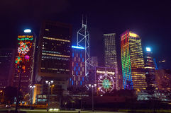 Seasonal greetings at the Hong Kong skyscrapers Royalty Free Stock Photo