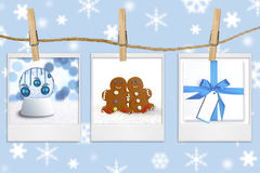 Seasonal Holiday Images Hanging From a Rope Stock Photography