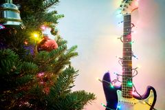 Christmas Guitar String Lights royalty free stock photography