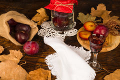 Seasonal homemade plum brandy Royalty Free Stock Photos