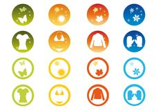 Seasonal Icon Set. Clothing and symbols of winter, autumn, spring and summer Royalty Free Stock Photography