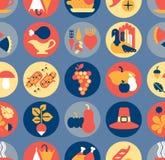 Seasonal icon set. Icon set with thanksgiving and autumn symbols royalty free illustration