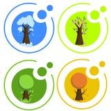 Seasonal icons. Set of 4 icons for each season Vector Illustration
