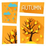 Seasonal illustration with autumn tree in flat Stock Image