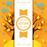 Seasonal illustration with autumn tree in flat Stock Photos