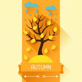 Seasonal illustration with autumn tree in flat Stock Photography