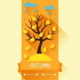 Seasonal illustration with autumn tree in flat Stock Photography