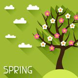 Seasonal illustration with spring tree in flat Royalty Free Stock Image