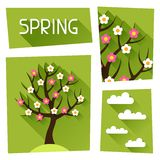 Seasonal illustration with spring tree in flat Royalty Free Stock Photography