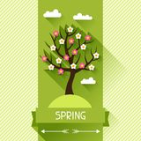 Seasonal illustration with spring tree in flat. Design style royalty free illustration
