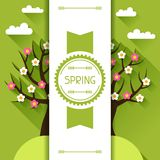 Seasonal illustration with spring tree in flat Stock Photo