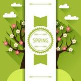 Seasonal illustration with spring tree in flat. Design style vector illustration