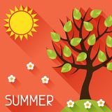 Seasonal illustration with summer tree in flat Stock Photos