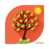 Seasonal illustration with summer tree in flat Stock Images