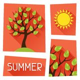 Seasonal illustration with summer tree in flat Royalty Free Stock Photo