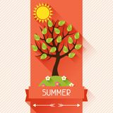 Seasonal illustration with summer tree in flat Stock Photo