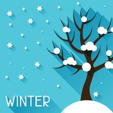 Seasonal illustration with winter tree in flat Stock Images