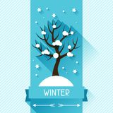 Seasonal illustration with winter tree in flat Royalty Free Stock Photography