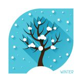 Seasonal illustration with winter tree in flat Stock Photos