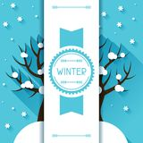 Seasonal illustration with winter tree in flat Stock Photo
